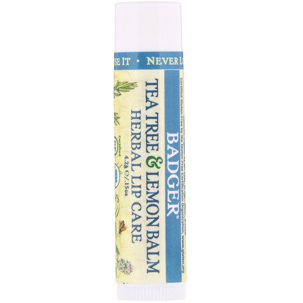 Organic, Tea Tree & Lemon Balm Herbal Lip Care, .15 oz (4.2 g)