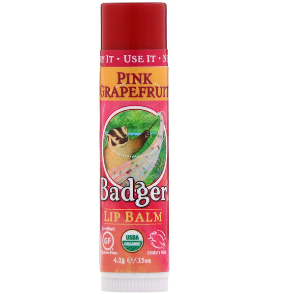Badger Company, Organic, Lip Balm, Pink Grapefruit, .15 oz (4.2 g)