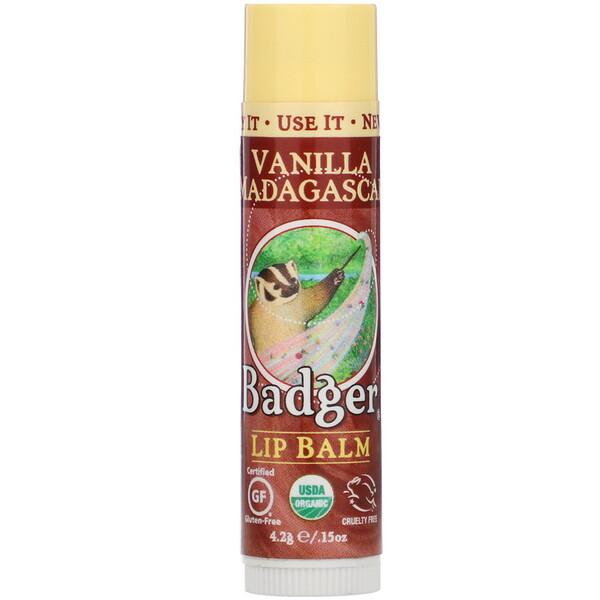 органический, бальзам для губ, мадагаскарская ваниль, 4,2 г (0,15унции)