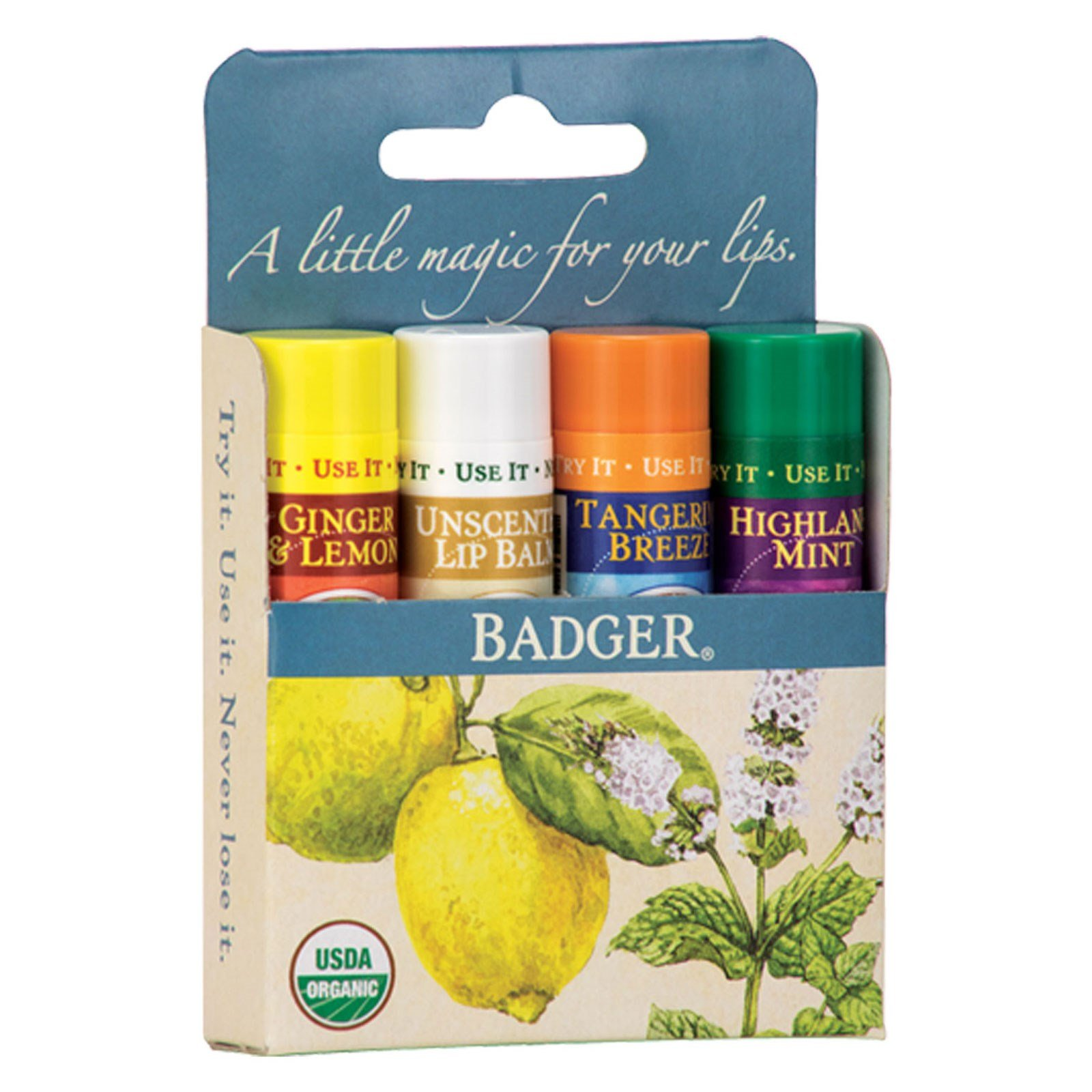 Badger - Certified Organic Classic Lip Balm Variety Pack - 4 x 0.15 oz. (pack of 4) doTERRA Verge Skin Care Collection by doTERRA