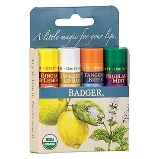 Badger Company, Bálsamo Classico para los Labios, 4 Bastones, .15 oz (4.2 g) Cada Uno