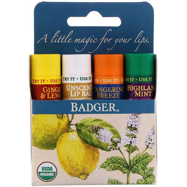 Badger Company, Organic Classic Lip Balm Sticks, Blue Box, 4 Lip Balm Sticks, .15 oz (4.2 g) Each