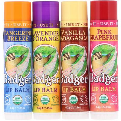 Купить Badger Company Органические классические карандаши-бальзам для губ, зеленая коробка, 4карандаша-бальзама, 4, 2г (0, 15унции) каждый