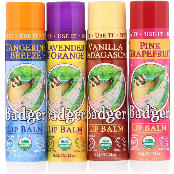 Badger Company, Organic Classic Lip Balm Sticks, Green Box, 4 Lip Balm Sticks, .15 oz (4.2 g) Each