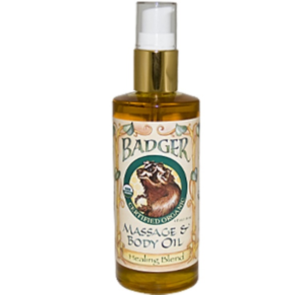 Badger Company, Massage & Body Oil, Healing Blend, 4 fl oz (118 ml) (Discontinued Item)