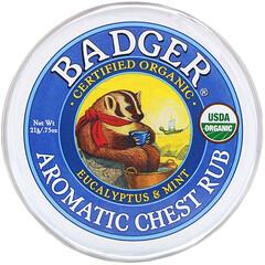 Badger Company, 鼻通舒胸膏, 桉樹&薄荷, 0.75盎司(21克)
