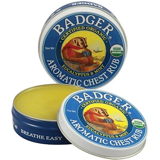 Badger Company, Organic Aromatic Chest Rub, Eucalyptus & Mint, .75 oz (21 g)
