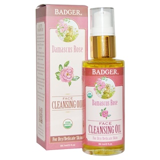 Badger Company, Damascus Rose Face Cleansing Oil, For Dry/Delicate Skin, 2 fl oz (59.1 ml)