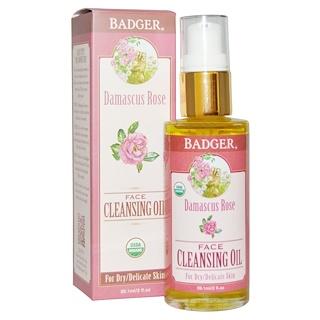 Badger Company, Aceite para el Rostro de Rosa Damasco, para Piel Reseca/Delicada, 2 fl oz (59.1 ml)
