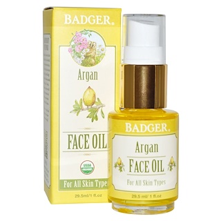 Badger Company, Argan Face Oil, For All Skin Types, 1 fl oz (29.5 ml)