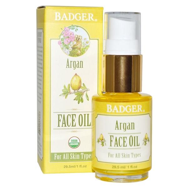 Badger Company, アルガン フェイスオイル、 全ての肌タイプに、 1液量オンス (29.5 ml)