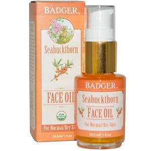Badger Company, Облепиховое масло для лица, для нормальной и сухой кожи, 1 жидкая унция (29.5 мл) инструкция, применение, состав, противопоказания