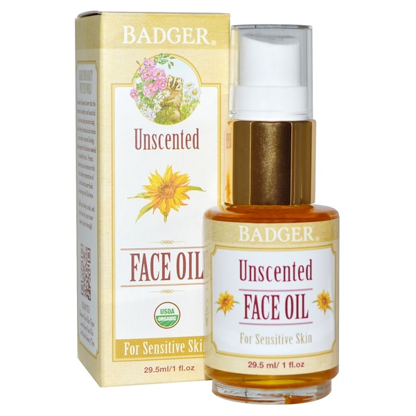 Badger Company, 無香フェイスオイル、敏感肌用、1 fl oz (29.5 ml) (Discontinued Item)