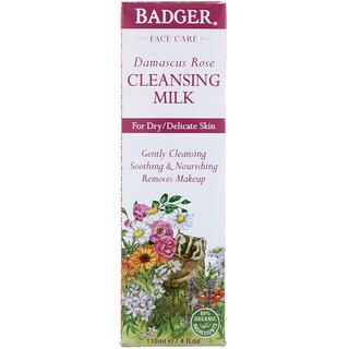 Badger Company, ダマスクローズ、クレンジングミルク、4液量オンス (118 ml)