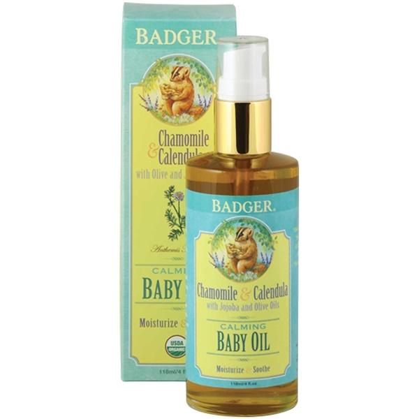 Badger Company, カーミング ベビーオイル, カモミール & カレンジュラ, 4 fl oz (118 ml)