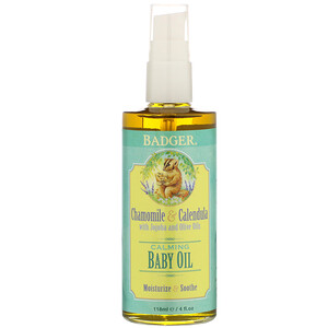 Бадгер компания, Calming Baby Oil, Chamomile & Calendula with Olive and Jojoba Oils, 4 fl oz (118 ml) отзывы покупателей