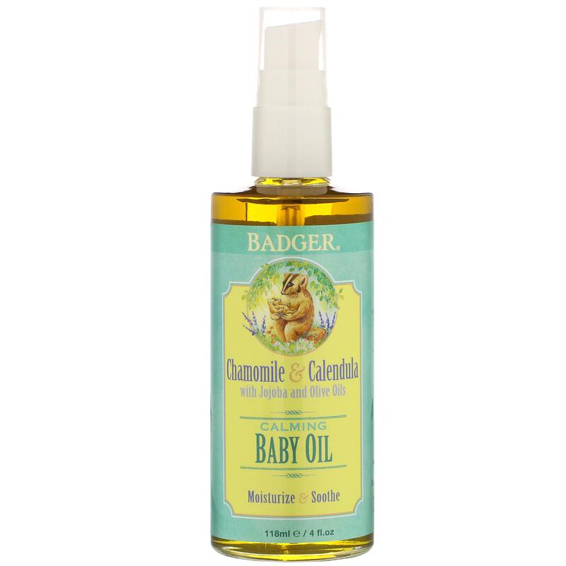 Badger Company, Aceite calmante para bebé, manzanilla y caléndula con aceites de oliva y jojoba, 4 fl oz (118 ml)