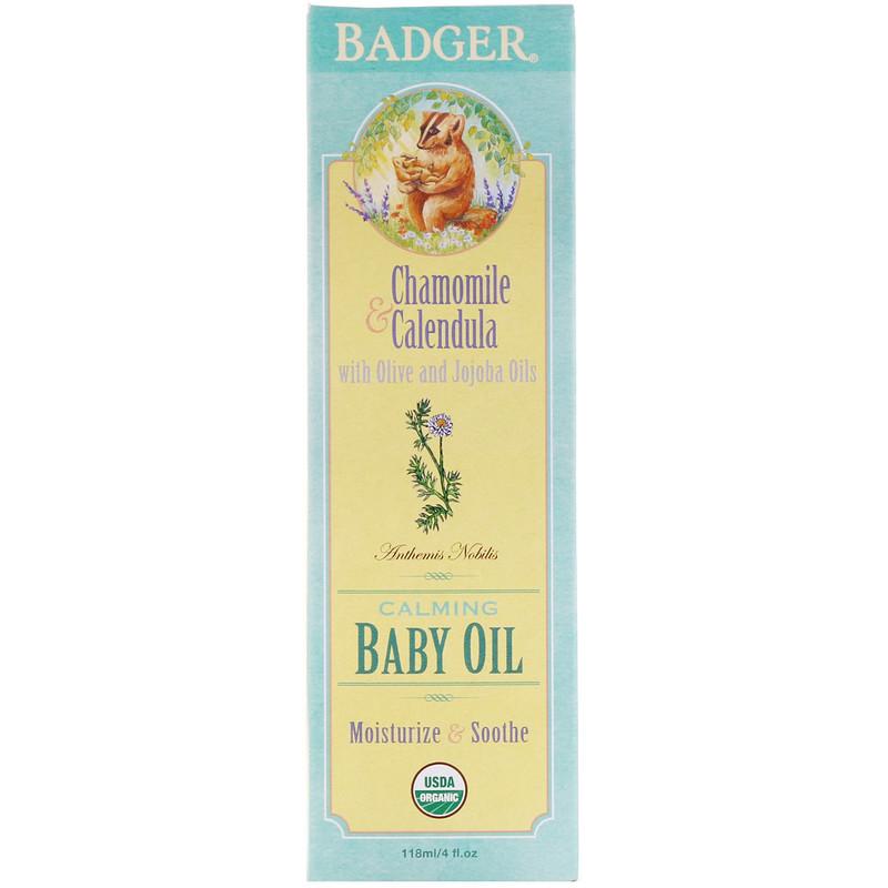 Badger Company, Calming Baby Oil, Chamomile & Calendula, 4 fl oz (118 ml)