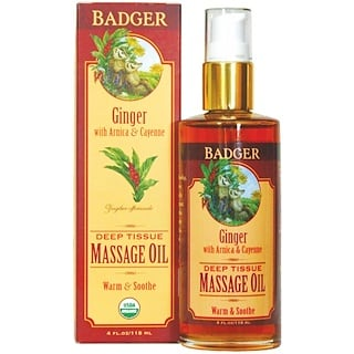 Badger Company, Deep Tissue Massage Oil, Ginger with Arnica  & Cayenne, 4 fl oz (118 ml)