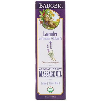 Купить Массажное масло для ароматерапии, лаванда с бергамотом и бальзамом пихты, 4 жидких унции (118 мл)