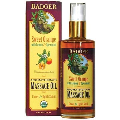 Badger Company 按摩油,甜橙檸檬薄荷香型,4液體盎司(118毫升)