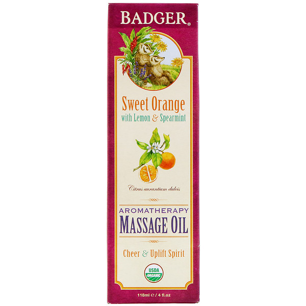 Badger Company, Organic, Aromatherapy Massage Oil, Sweet Orange with Lemon & Spearmint, 4 fl oz (118 ml) (Discontinued Item)