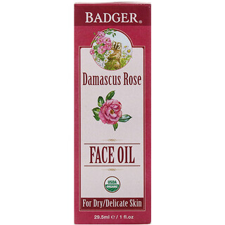 Badger Company, Face Oil, Damascus Rose, For Dry, Delicate Skin, 1 fl oz (29.5 ml)