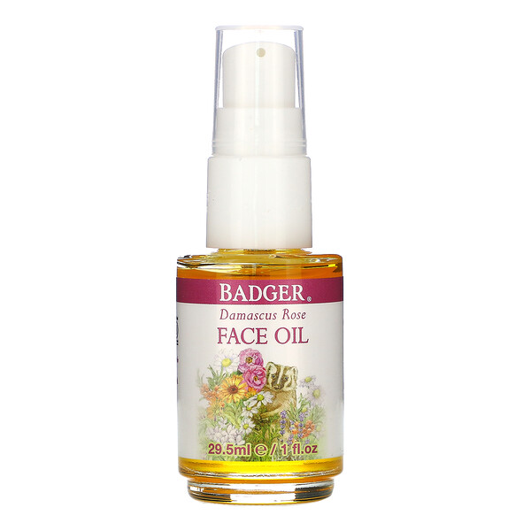 Badger Company, Face Care, Damascus Rose Face Oil, 1 fl oz (29.5 ml)
