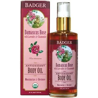 Badger Company, アンティオキシダントボディーオイル、 ダマスカスローズ、 4液量オンス (118 ml)