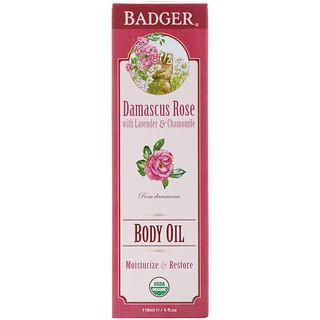 Badger Company, Body Oil, Damascus Rose, 4 fl oz (118 ml)