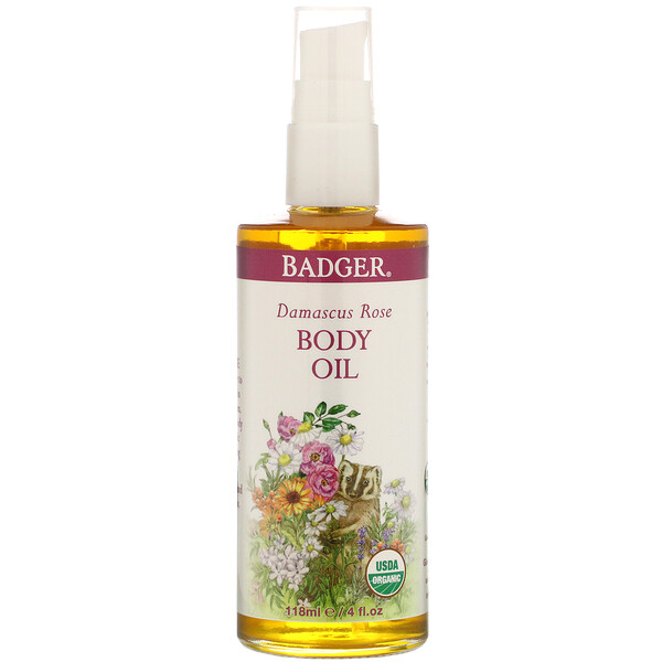 Badger Company, Damascus Rose Body Oil, 4 fl oz (118 ml) (Discontinued Item)