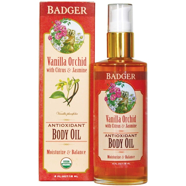 Badger Company, Antioxidant Body Oil, Vanilla Orchid, 4 fl oz (118 ml) (Discontinued Item)