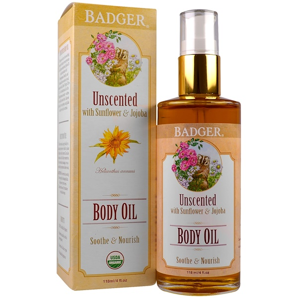 Badger Company, Body Oil, Unscented, 4 fl oz (118 ml) (Discontinued Item)