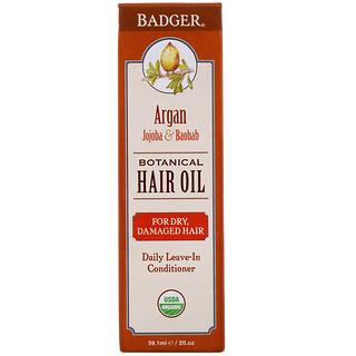 Badger Company, Organic, Botanical Hair Oil, Argan, Jojoba & Baobab, 2 fl oz (59.1 ml)
