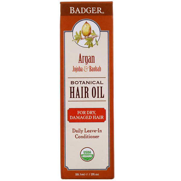 Badger Company, Organic, Botanical Hair Oil, Argan Jojoba & Baobab, 2 fl oz (59.1 ml)