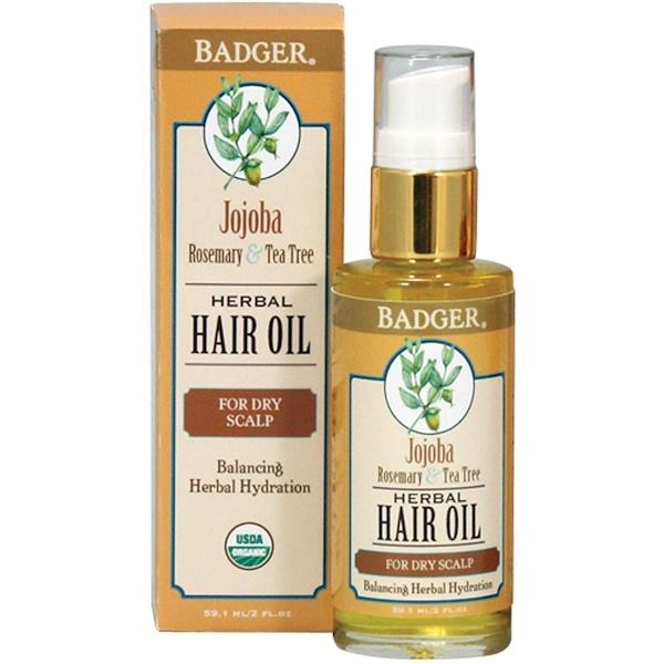 Badger Company, Jojoba Herbal Hair Oil, Rosemary & Tea Tree, 2 fl oz (59.1 ml)