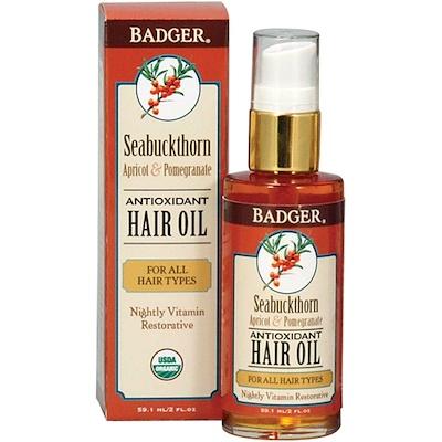 Badger Company 沙棘抗氧化劑護髮精油,杏仁和石榴,2液盎司(59.1毫升)