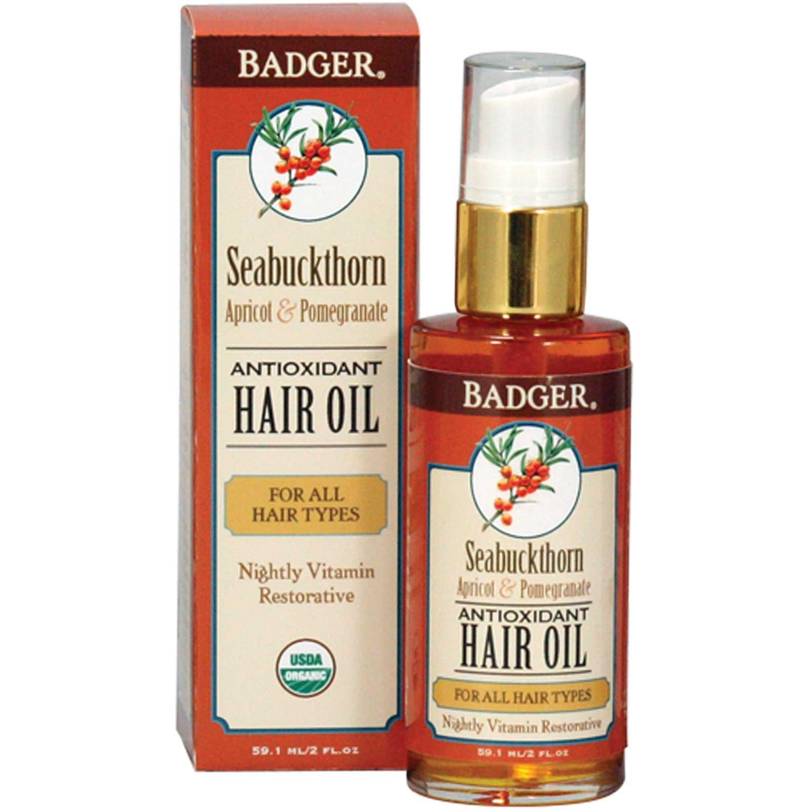 Badger Company, Противоокислительное облепиховое масло для волос, с абрикосом и гранатом, 2 жидких унции (59.1 мл)