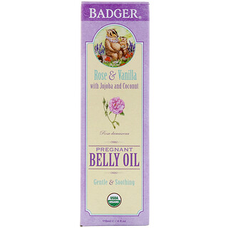 Badger Company, Organic Pregnant Belly Oil, Rose & Vanilla, 4 fl oz (118 ml)