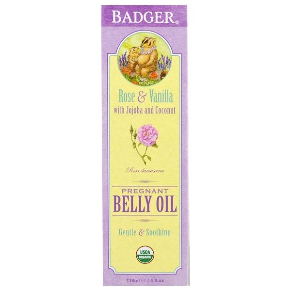Badger Company, 有機孕期腹部油,玫瑰和香草,4盎司(118毫升)