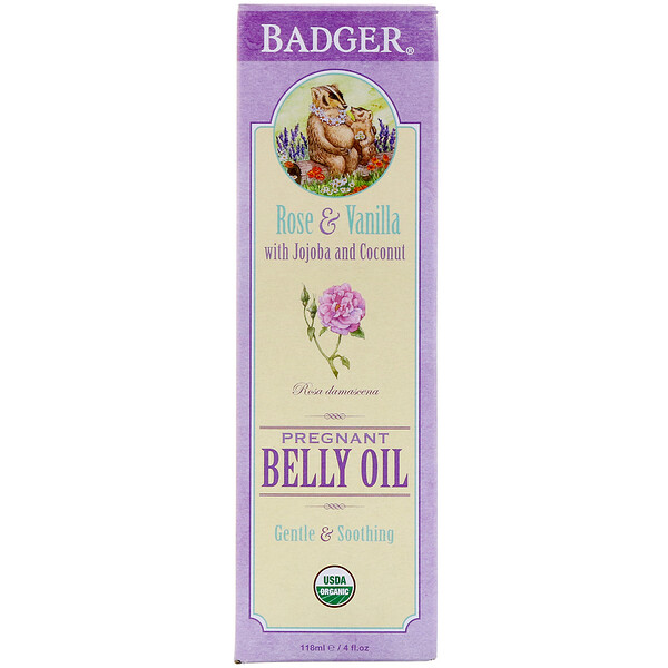 Badger Company, Organic Pregnant Belly Oil, Rose & Vanilla, 4 fl oz (118 ml) (Discontinued Item)