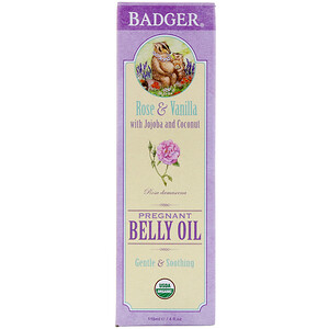 Бадгер компания, Organic Pregnant Belly Oil, Rose & Vanilla, 4 fl oz (118 ml) отзывы
