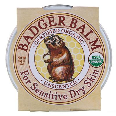 Купить Бальзам Badger, для сухой и чувствительной кожи, без запаха, 2 унции (56 г)