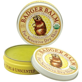 Badger Company, Badger Balm, For Sensitive Dry Skin, Unscented, 2 oz (56 g)