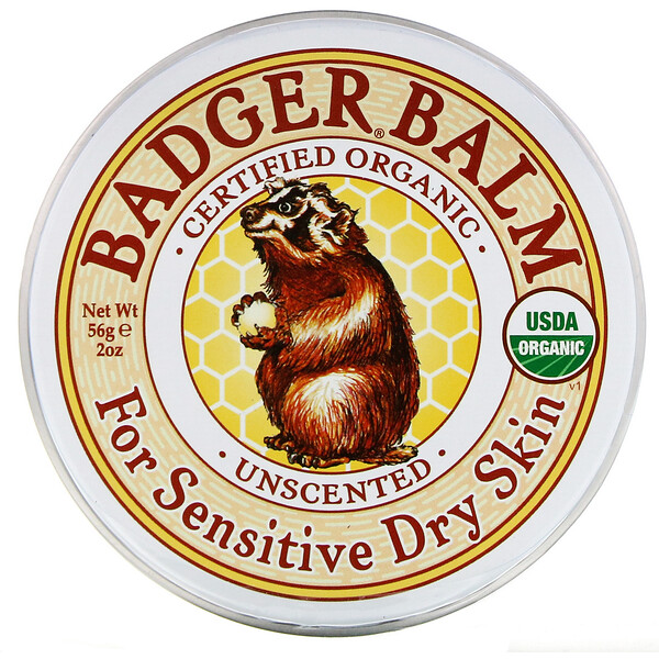 Badger Balm, For Sensitive Dry Skin, Unscented, 2 oz (56 g)