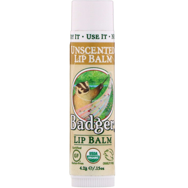 Badger Company, Organic Lip Balm, Unscented, .15 oz (4.2 g)