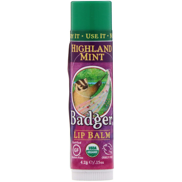 Badger Company, Organic, Lip Balm, Highland Mint, .15 oz (4.2 g)