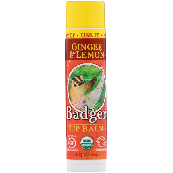 Badger Company, Organic, Lip Balm, Ginger & Lemon, .15 oz (4.2 g) (Discontinued Item)