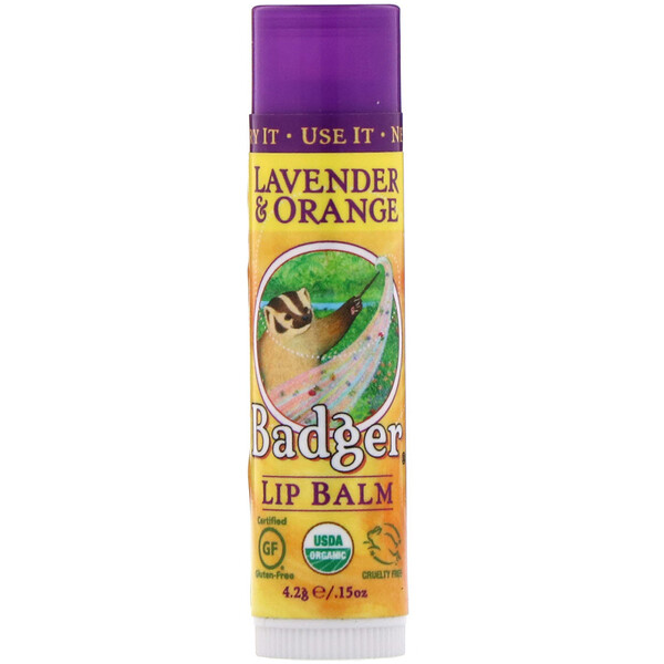 Badger Company, Lip Balm, Lavender & Orange, .15 oz (4.2 g)