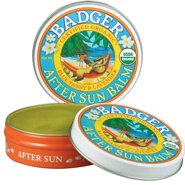Badger Company, Organic After Sun Balm, Blue Tansy & Lavender, .75 oz (21 g) (Discontinued Item)
